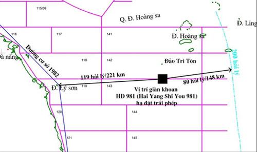 Vị trí giàn khoan (ô vuông đen) mà Trung Quốc đặt trái phép trên vùng biển Việt Nam. Ảnh: PVN